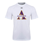 Under Armour White Tech Tee-Alcorn Official Logo