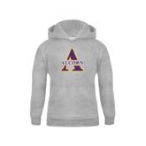 Youth Grey Fleece Hood-Alcorn Official Logo