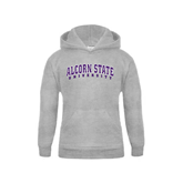 Youth Grey Fleece Hood-Arched Alcorn State University