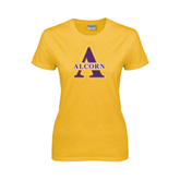Ladies Gold T Shirt-Alcorn Official Logo