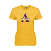 Alcorn Ladies Gold T Shirt-Alcorn Official Logo