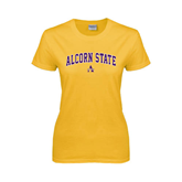 Ladies Gold T Shirt-Arched Alcorn State