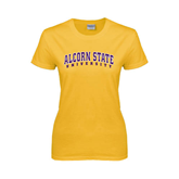 Alcorn Ladies Gold T Shirt-Arched Alcorn State University