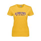 Alcorn Ladies Gold T Shirt-Alumni