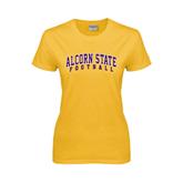 Alcorn Ladies Gold T Shirt-Football