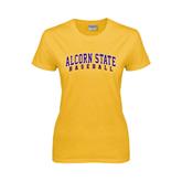 Alcorn Ladies Gold T Shirt-Baseball