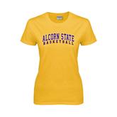 Alcorn Ladies Gold T Shirt-Basketball