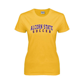 Alcorn Ladies Gold T Shirt-Soccer