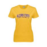 Alcorn Ladies Gold T Shirt-Softball