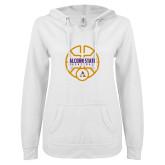 ENZA Ladies White V Notch Raw Edge Fleece Hoodie-Alcorn State Basketball