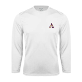 Syntrel Performance White Longsleeve Shirt-Alcorn Official Logo