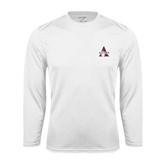 Syntrel Performance White Longsleeve Shirt-Alcorn Official Logo