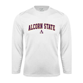 Syntrel Performance White Longsleeve Shirt-Arched Alcorn State