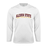 Syntrel Performance White Longsleeve Shirt-Arched Alcorn State University