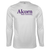 Performance White Longsleeve Shirt-Alcorn State University