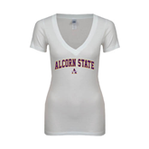 Next Level Ladies Junior Fit Deep V White Tee-Arched Alcorn State