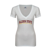 Next Level Ladies Junior Fit Deep V White Tee-Arched Alcorn State University