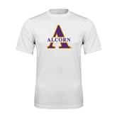 Syntrel Performance White Tee-Alcorn Official Logo