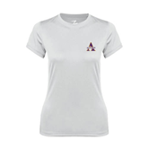 Ladies Syntrel Performance White Tee-Alcorn Official Logo