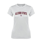 Ladies Syntrel Performance White Tee-Arched Alcorn State