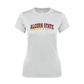 Ladies Syntrel Performance White Tee-Arched Alcorn State University