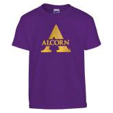 Youth Purple T Shirt-Alcorn A