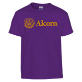 Youth Purple T Shirt-Alcorn