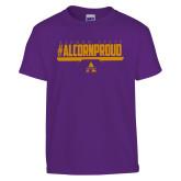Youth Purple T Shirt-Alcorn Proud