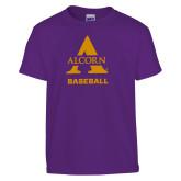 Youth Purple T Shirt-Alcorn Baseball