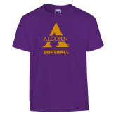 Youth Purple T Shirt-Alcorn Softball