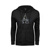 ENZA Ladies Black Fleece Full Zip Hoodie-Alcorn Official Logo Foil