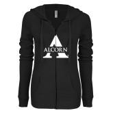 ENZA Ladies Black Light Weight Fleece Full Zip Hoodie-Alcorn A