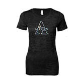 Next Level Ladies Junior Fit Black Burnout Tee-Alcorn Official Logo Foil