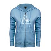 ENZA Ladies Light Blue Fleece Full Zip Hoodie-Alcorn Official Logo