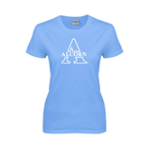 Ladies Sky Blue T-Shirt-Alcorn Official Logo