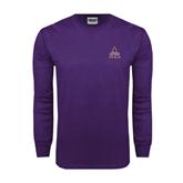 Purple Long Sleeve T Shirt-Alcorn Official Logo