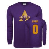 Purple Long Sleeve T Shirt-Alcorn A, Custom Tee w/ Name and #