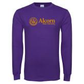 Purple Long Sleeve T Shirt-Alcorn State University Seal