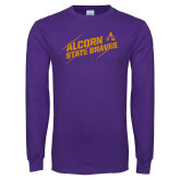 Purple Long Sleeve T Shirt-Alcorn State Braves