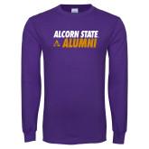 Purple Long Sleeve T Shirt-Alcorn State Alumni