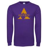 Purple Long Sleeve T Shirt-Distressed Logo