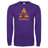 Purple Long Sleeve T Shirt-Alcorn Baseball