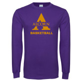 Purple Long Sleeve T Shirt-Alcorn Basketball