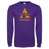 Purple Long Sleeve T Shirt-Alcorn Softball