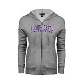 Ladies Grey Fleece Full Zip Hoodie-Arched Alcorn State University