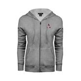Ladies Grey Fleece Full Zip Hoodie-Alcorn Official Logo