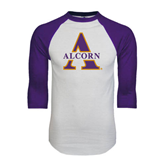 White/Purple Raglan Baseball T Shirt-Alcorn Official Logo