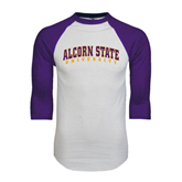 White/Purple Raglan Baseball T Shirt-Arched Alcorn State University