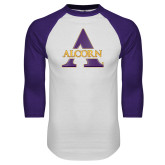 White/Purple Raglan Baseball T Shirt-Alcorn A