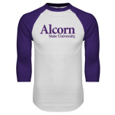 White/Purple Raglan Baseball T Shirt-Alcorn State University